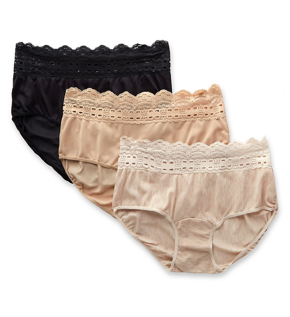 Olga >> Olga 913J3 Secret Hug Scoop Hipster Panty - 3 Pack (FrchToastBlkBttrscotch 6)