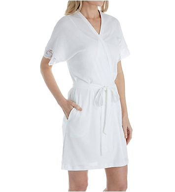 P-Jamas Pima Cotton Silky Ribs Short Wrap Robe with Lace