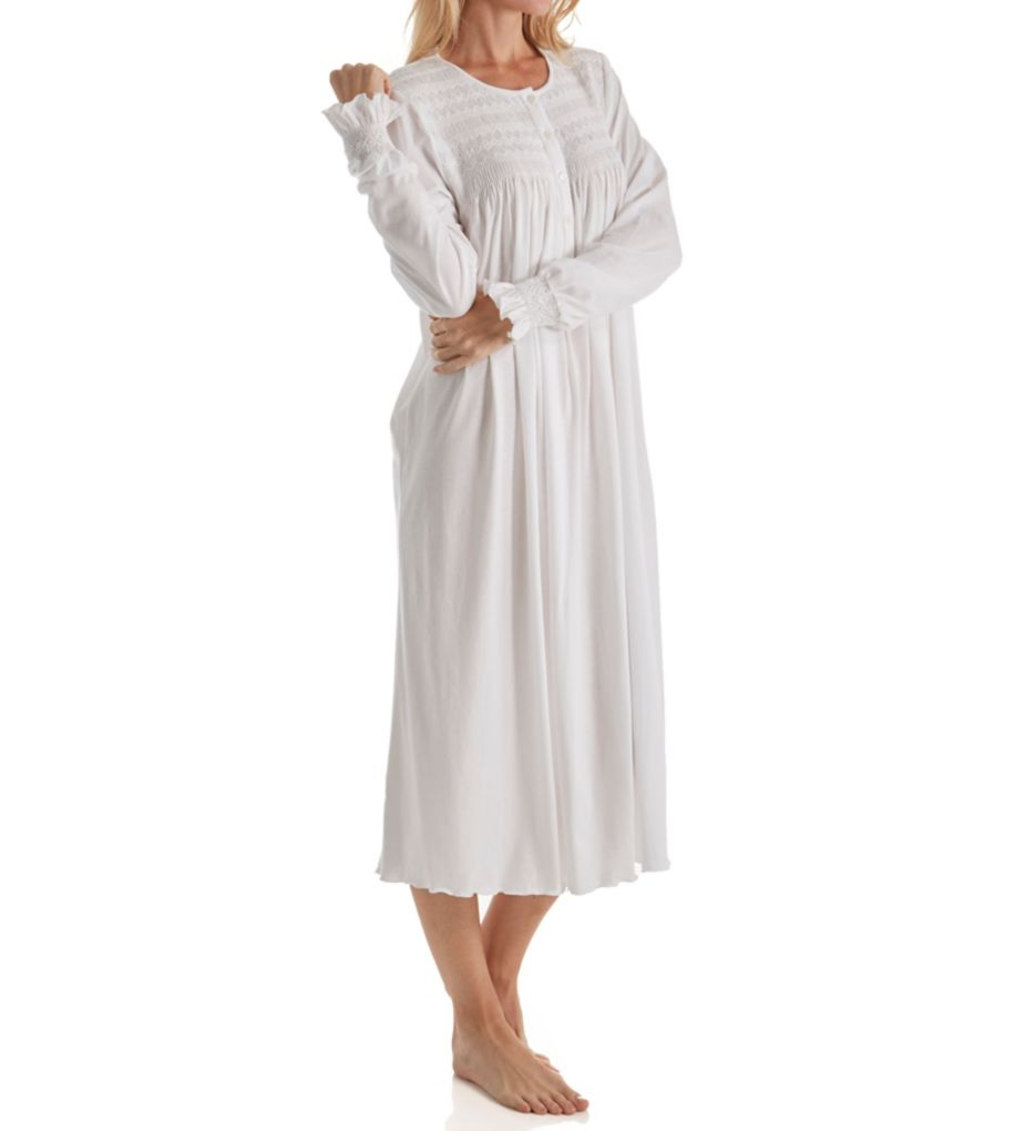 P-Jamas Isabel Smocked Long Sleeve Nightgown