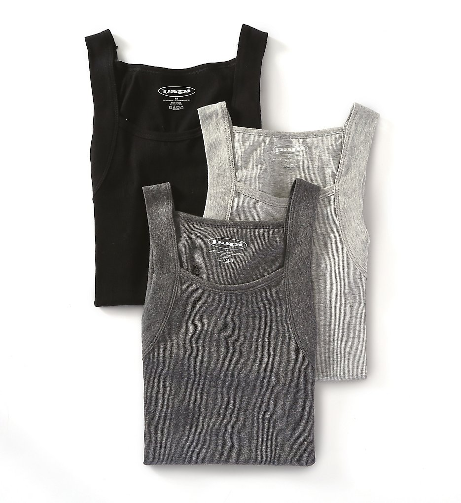 papi 559102 essentials 100% cotton square neck tank - 3 pack (black/grey assorted xl)