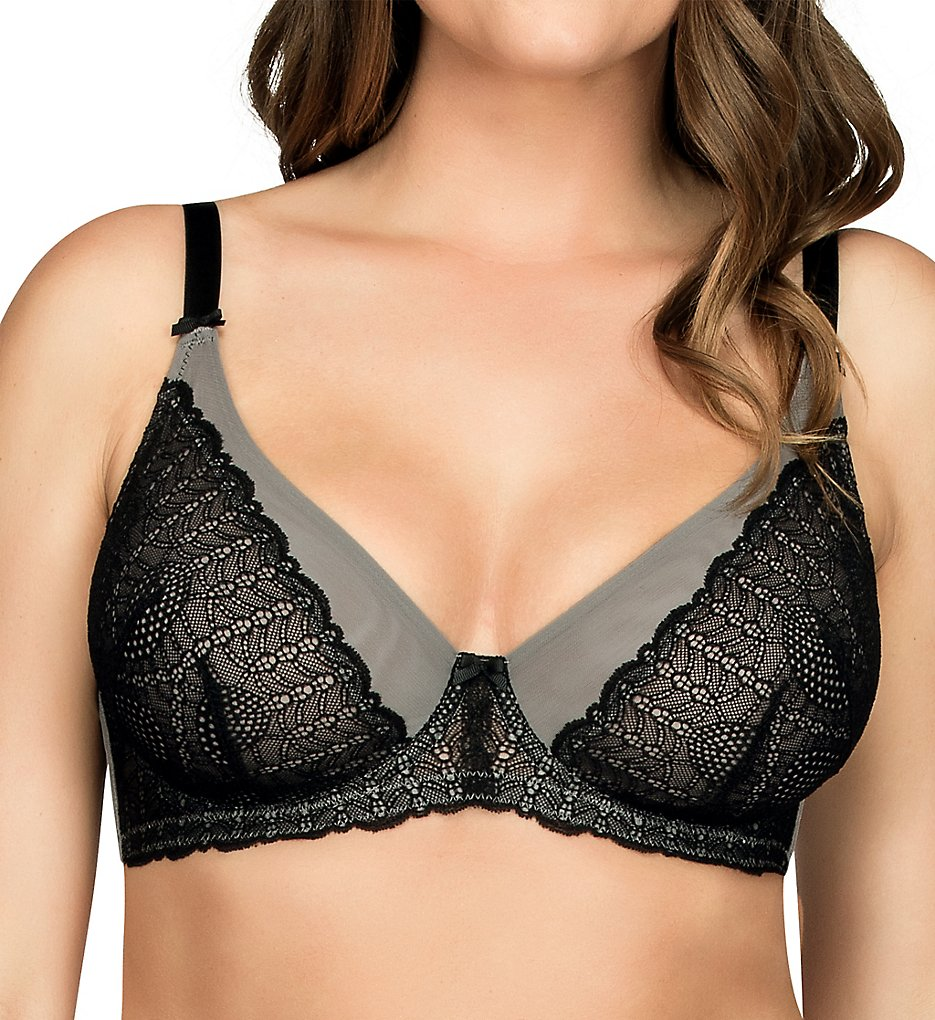 Parfait >> Parfait P5702 Vanna Unlined Underwire Bra (Black/Grey 32DD)