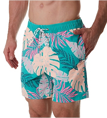 Party Pants Jux Palm Print Swim Trunk