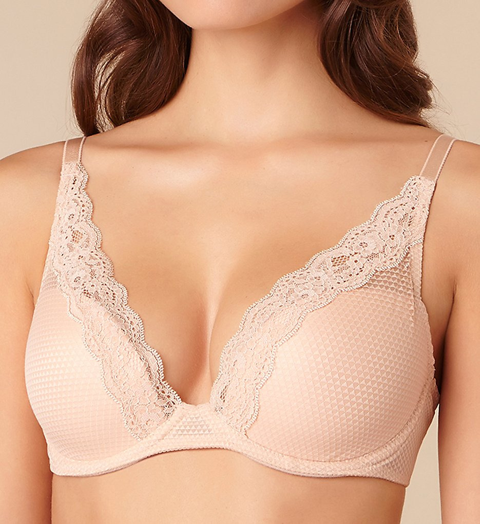 Passionata by Chantelle - Passionata by Chantelle 5701 Brooklyn Lace Plunge T-Shirt Bra (Light Nude 32C)