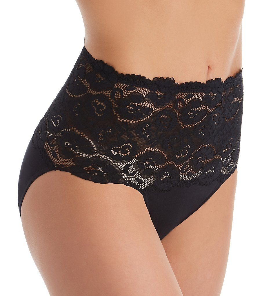 Perfects Australia - Perfects Australia 19BF465 Cotton & Lace Full Brief Panty (Black S)