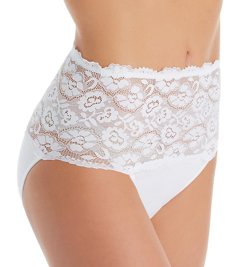 Perfects Australia - Perfects Australia 19BF465 Cotton & Lace Full Brief Panty (White XL)