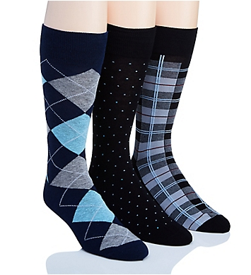 Perry Ellis Portfolio Cotton Rich Dress Socks - 3 Pack