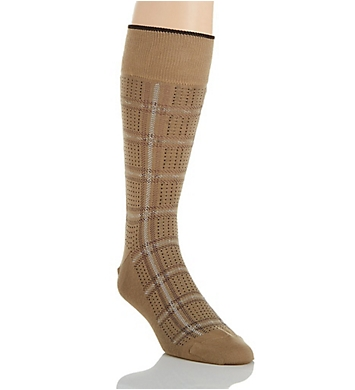 Perry Ellis Mercerized Cotton Plaid & Dot Luxury Sock