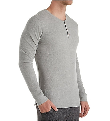 Perry Ellis Saturday Morning Thermal Long Sleeve Henley
