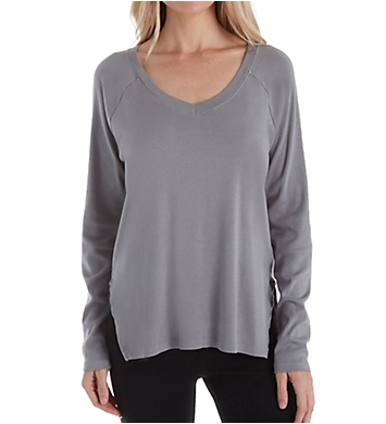 PJ Harlow Rib Long Sleeve V-Neck with Side Slits
