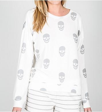 PJ Salvage Simple Skull Soft Peachy Long Sleeve Top