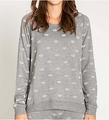 PJ Salvage Lips Fleece Long Sleeve Top