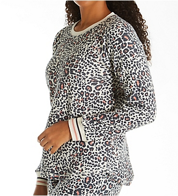 PJ Salvage Brushed Thermal Leopard Long Sleeve Top