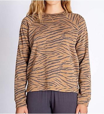 PJ Salvage Fleece Zebra Long Sleeve Top