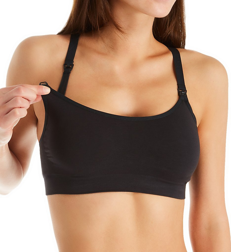 Playtex - Playtex YYCEUS Nursing Seamless Racerback Wireless Crop Bra (Black S)