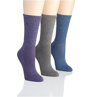 Polo Ralph Lauren Blue Label Cushioned Sole Mesh Top Crew Sock - 3 Pack
