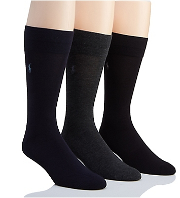 Polo Ralph Lauren Flat Knit Viscose Cushioned Crew Socks - 3 Pack