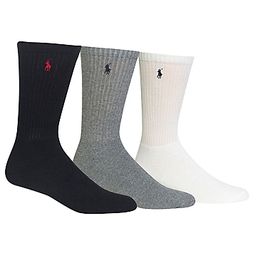 Polo Ralph Lauren Cushioned Classic Cotton Crew Socks - 3 Pack