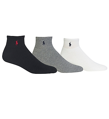 Polo Ralph Lauren Cotton Cushioned Quarter Golf Socks - 3 Pack