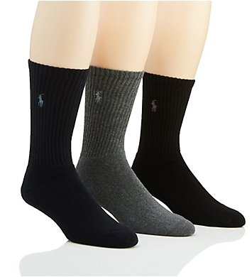 Polo Ralph Lauren Cushioned Foot Ribbed Crew Sock - 3 Pack