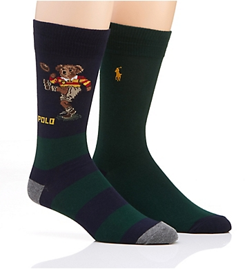 Polo Ralph Lauren Rugby Kicker Bear Stripe Socks - 2 Pack