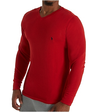 Polo Ralph Lauren Lightweight Waffle Long Sleeve V-Neck Sleep Shirt