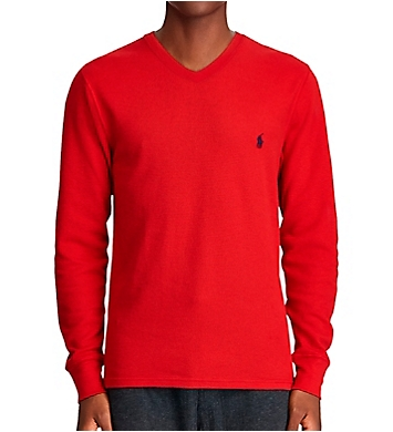 Polo Ralph Lauren Waffle-Knit Long Sleeve V-Neck Shirt