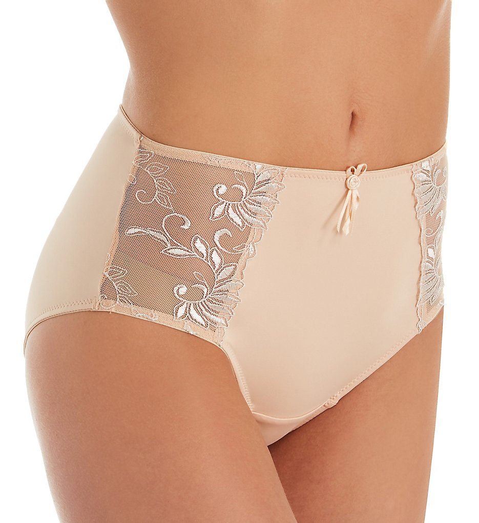 Pour Moi - Pour Moi 3804B Imogen Rose Embroidered Brief Panty (Latte S)