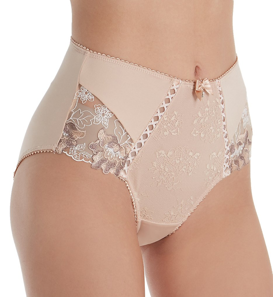 Pour Moi >> Pour Moi 3828 Sophia Lace Embroidered Deep Brief Panty (Latte S)