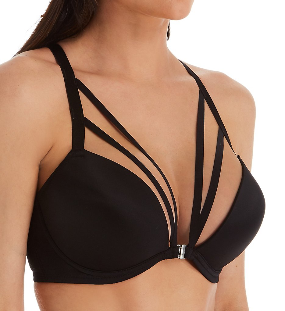 Pour Moi - Pour Moi 50012 Contradiction Strapped Front Close T-Shirt Bra (Black 32B)