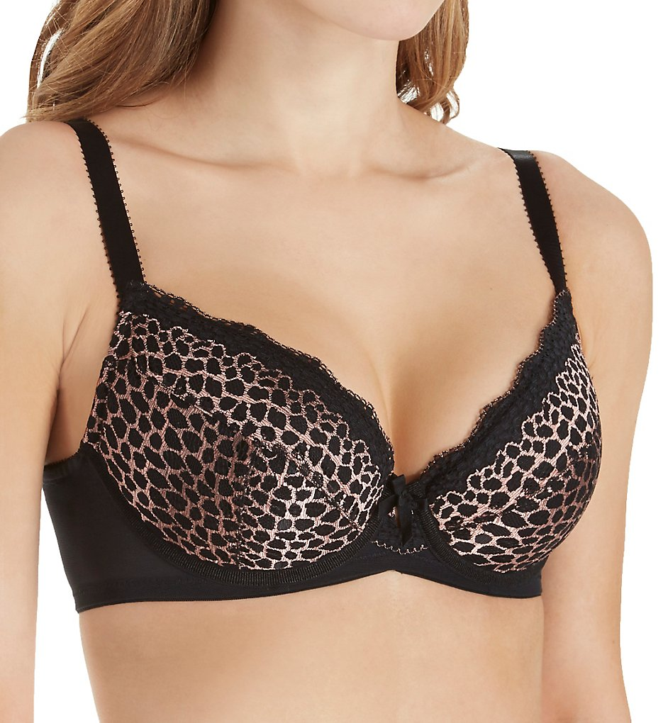Pour Moi - Pour Moi 53000 Contradiction Roar Padded Underwire Bra (Black/Gold 32DD)