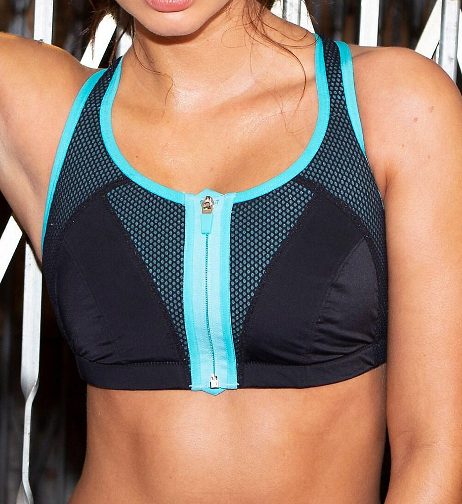 Pour Moi - Pour Moi 97006 Energy Zip Front Padded Sports Bra (Black/Aqua 32C)