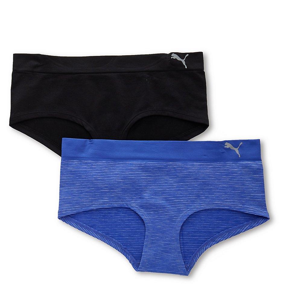 Puma 1721923 Seamless Heather Stripe Boyshort Panty - 2 Pack