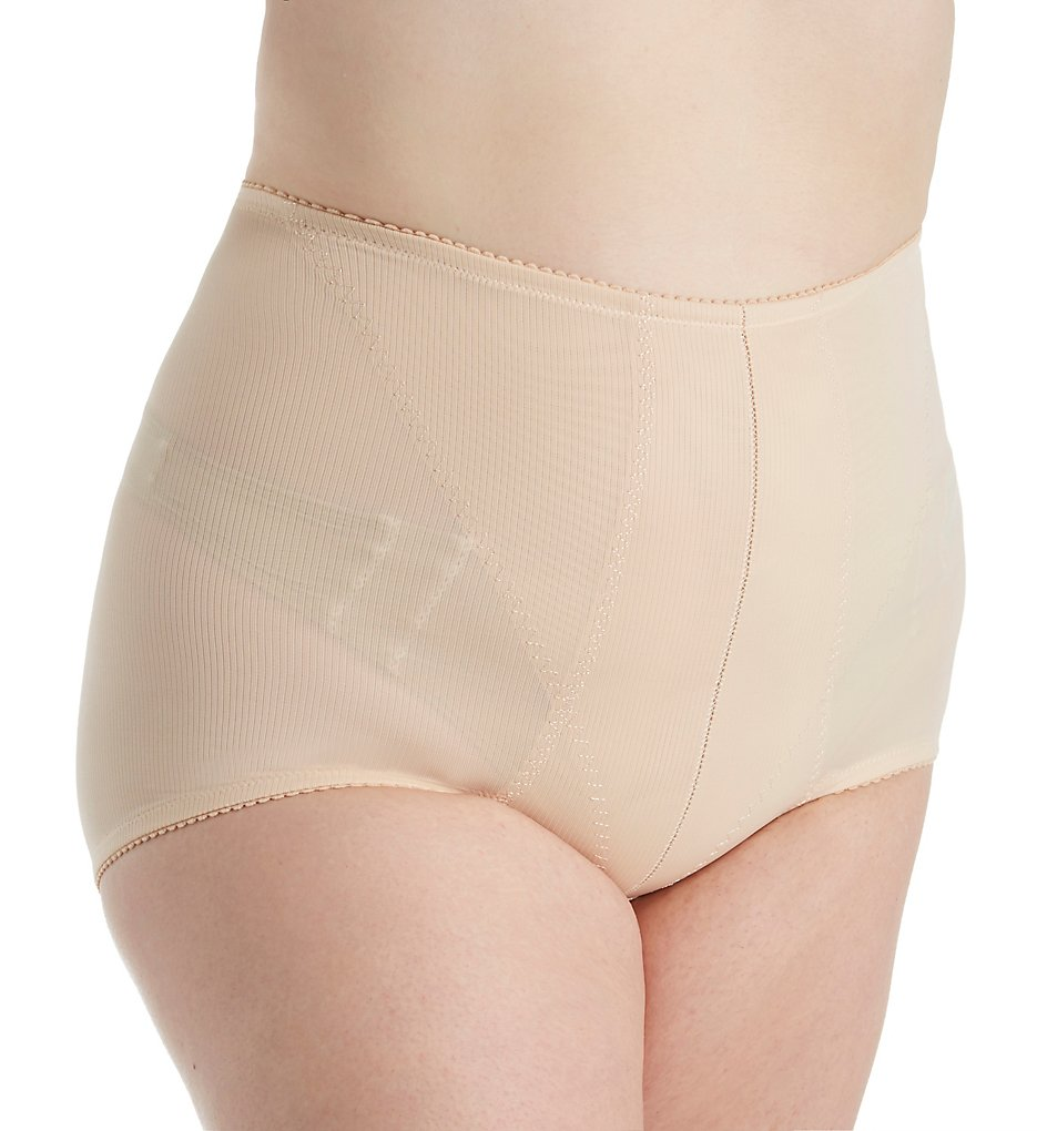 QT - QT 220 Retro High Waist Control Brief Panty (Beige L)