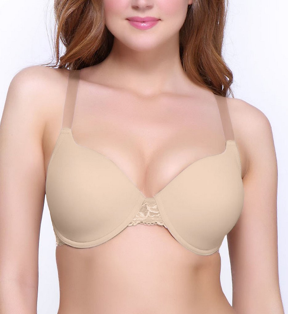 QT 55107 Molded Micro Cup Lace Trim Bra (Warm Taupe)