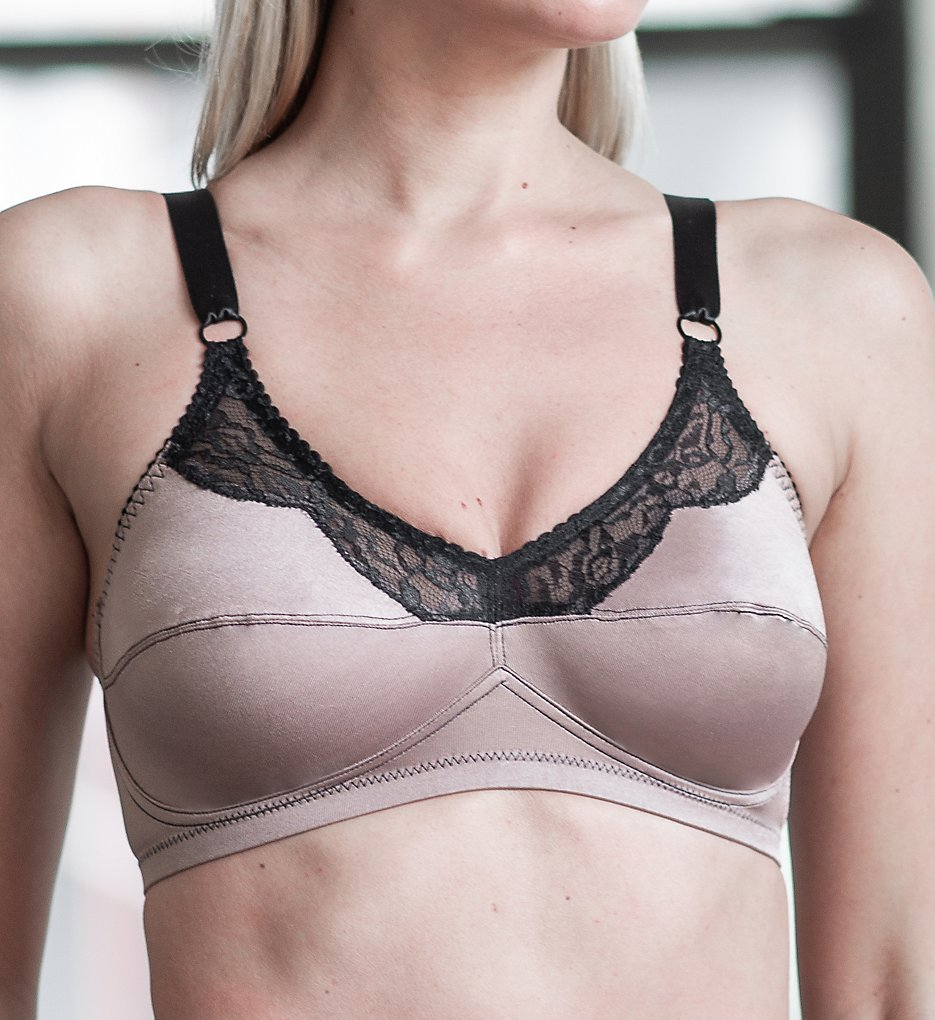 Rago 2190 Satin and Lace Wirefree Bra (Mocha)