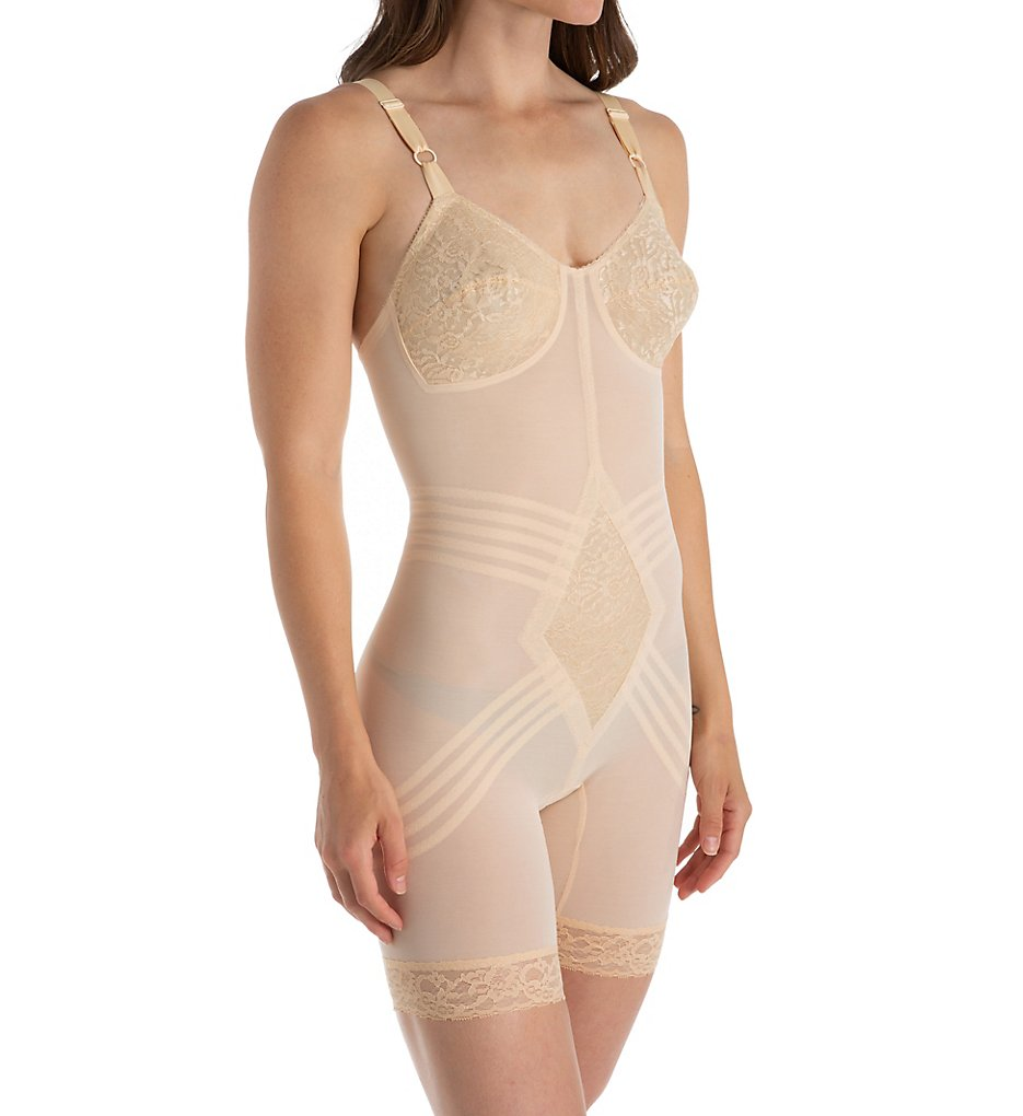 Rago - Rago 9071 Shapette Long Leg Body Briefer with Contour Bands (Beige 44DD)