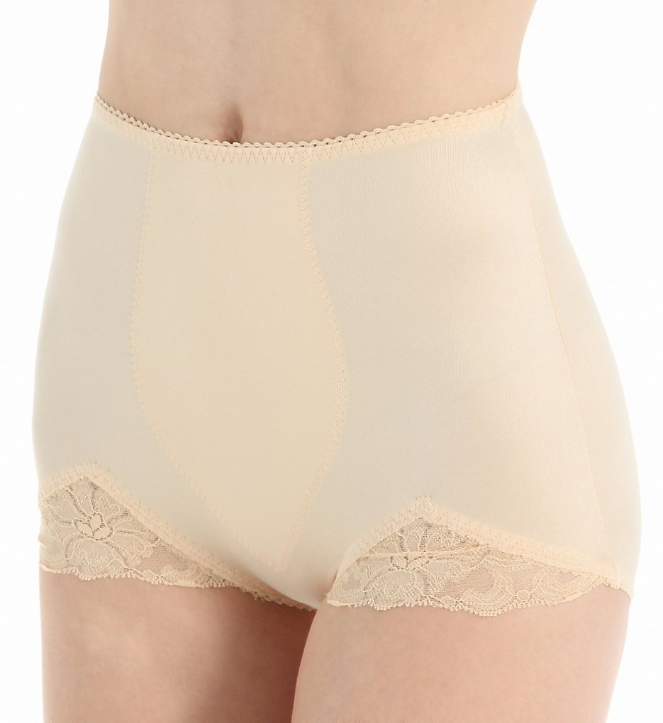 Rago - Rago 919 Light Shaping V Leg Brief Panty with Lace (Beige M)