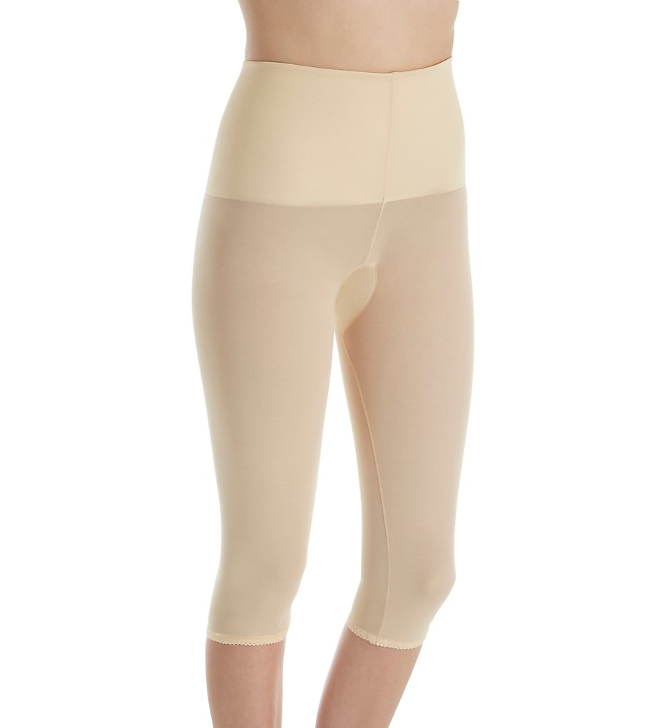Rago - Rago 9240 Power Lites Shaping Wide Band Capri Pant Liner (Beige S)