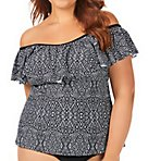 Mahina Tortuga Flounce Plus Size Tankini Swim Top