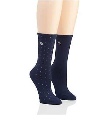 Ralph Lauren Pindot Supersoft Trouser Sock - 2 Pack