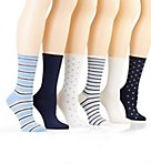 Stripe and Dot Roll Top Trouser Sock - 6 Pack