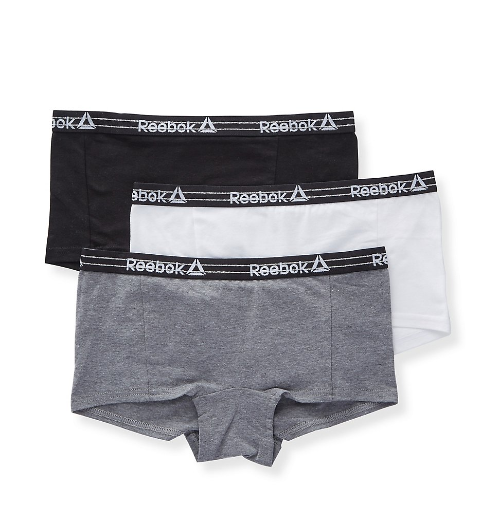 Reebok >> Reebok 191UH49 Cotton Boyshort Panty - 3 Pack (Grey/White/Black S)