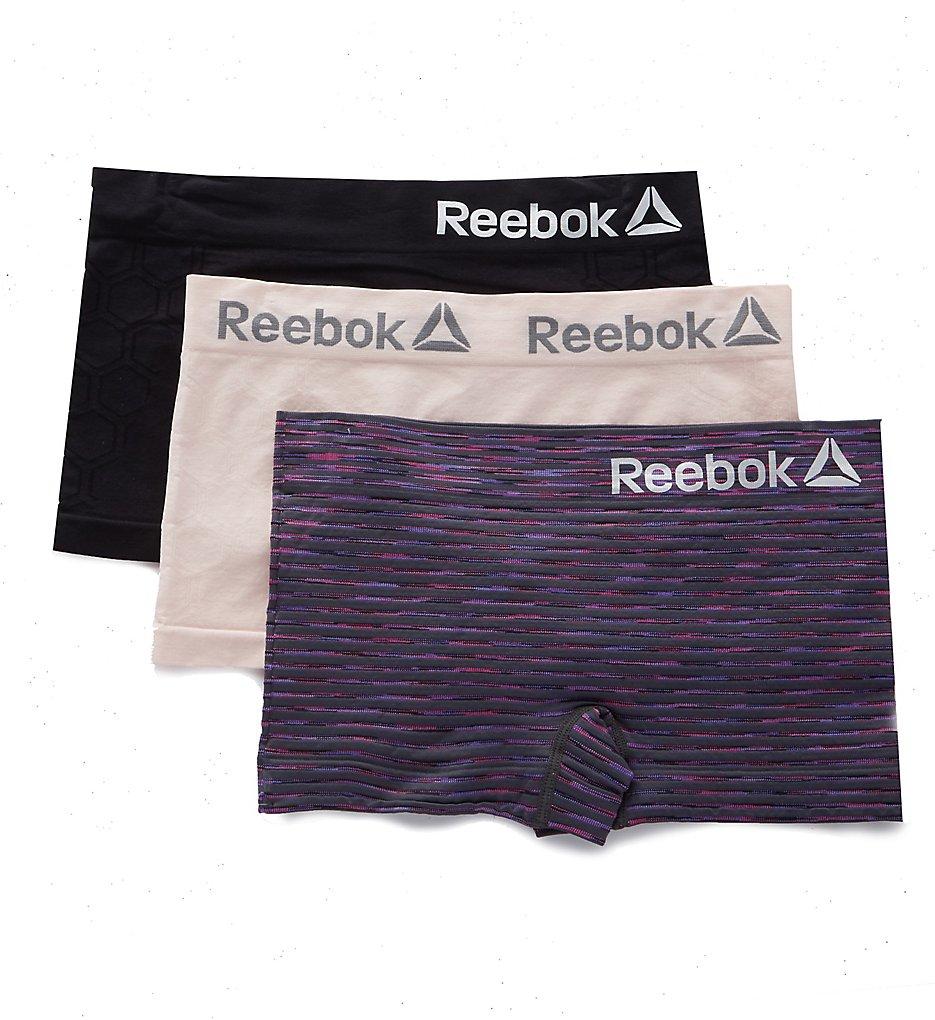 Reebok - Reebok 193UH04 Seamless Boyshort Panty - 3 Pack (Graystone/Lotus/Black S)