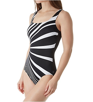 Reebok Dynamic Moves Square Neck One Piece Swimsuit
