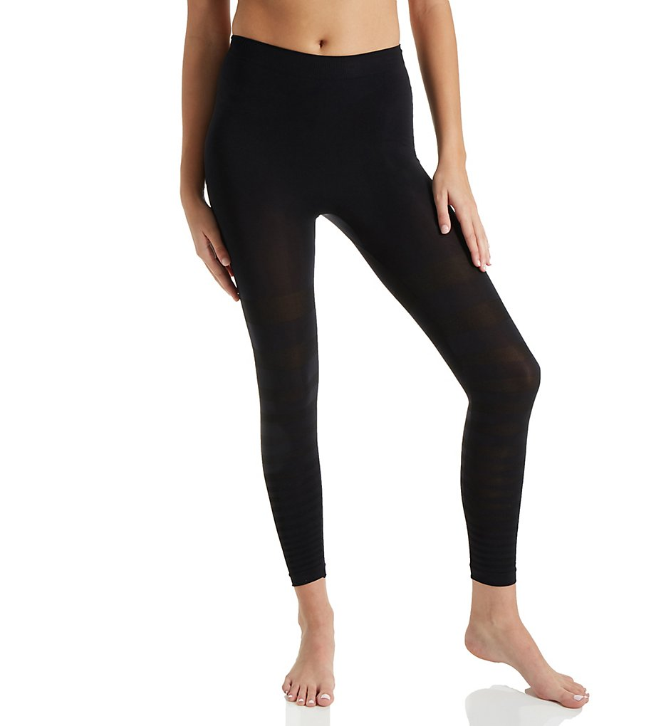 Rhonda Shear >> Rhonda Shear 1385 Seamless Tonal Striped Shaping Legging (Black 1X)