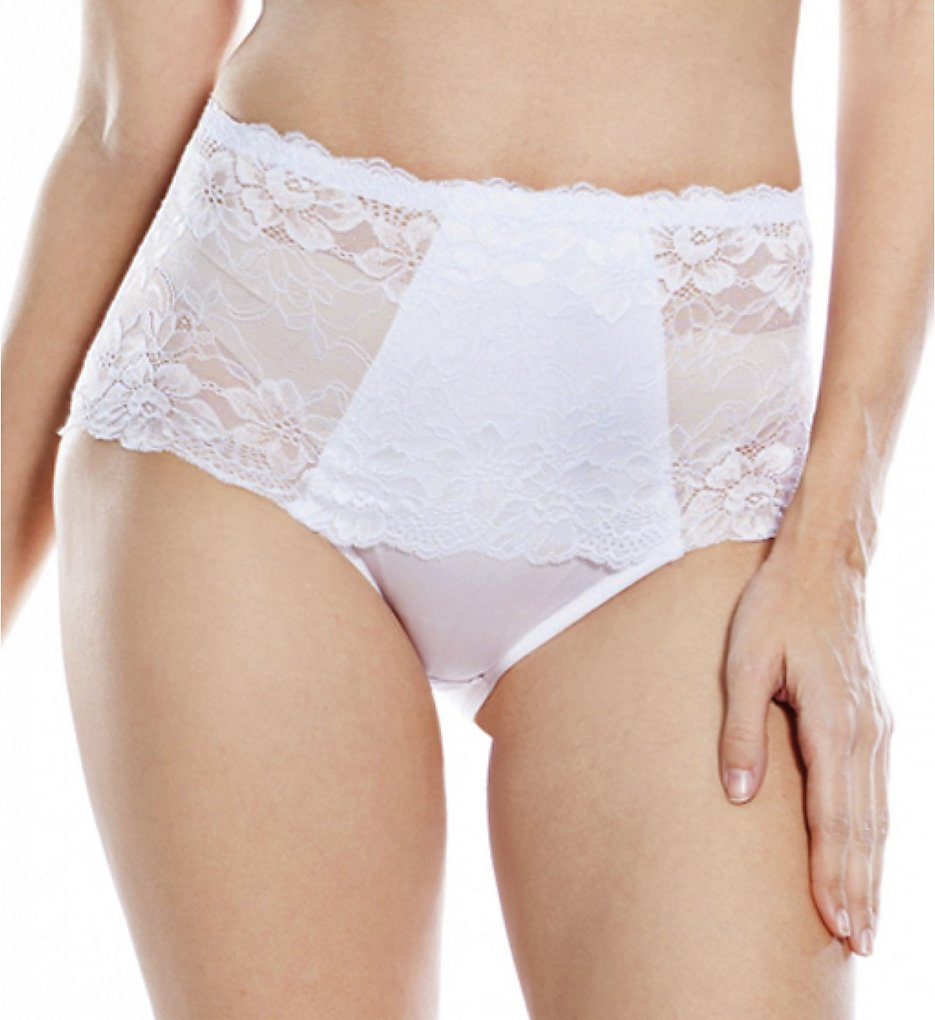 Rhonda Shear - Rhonda Shear 3901 Full Coverage Lace Brief Panty (White 1X)