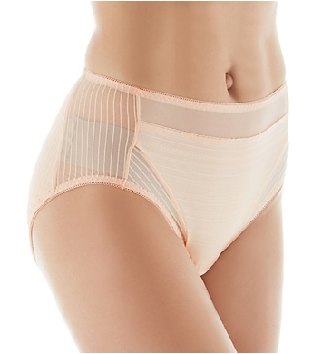 Rhonda Shear Striped Mesh Detail Brief Panty