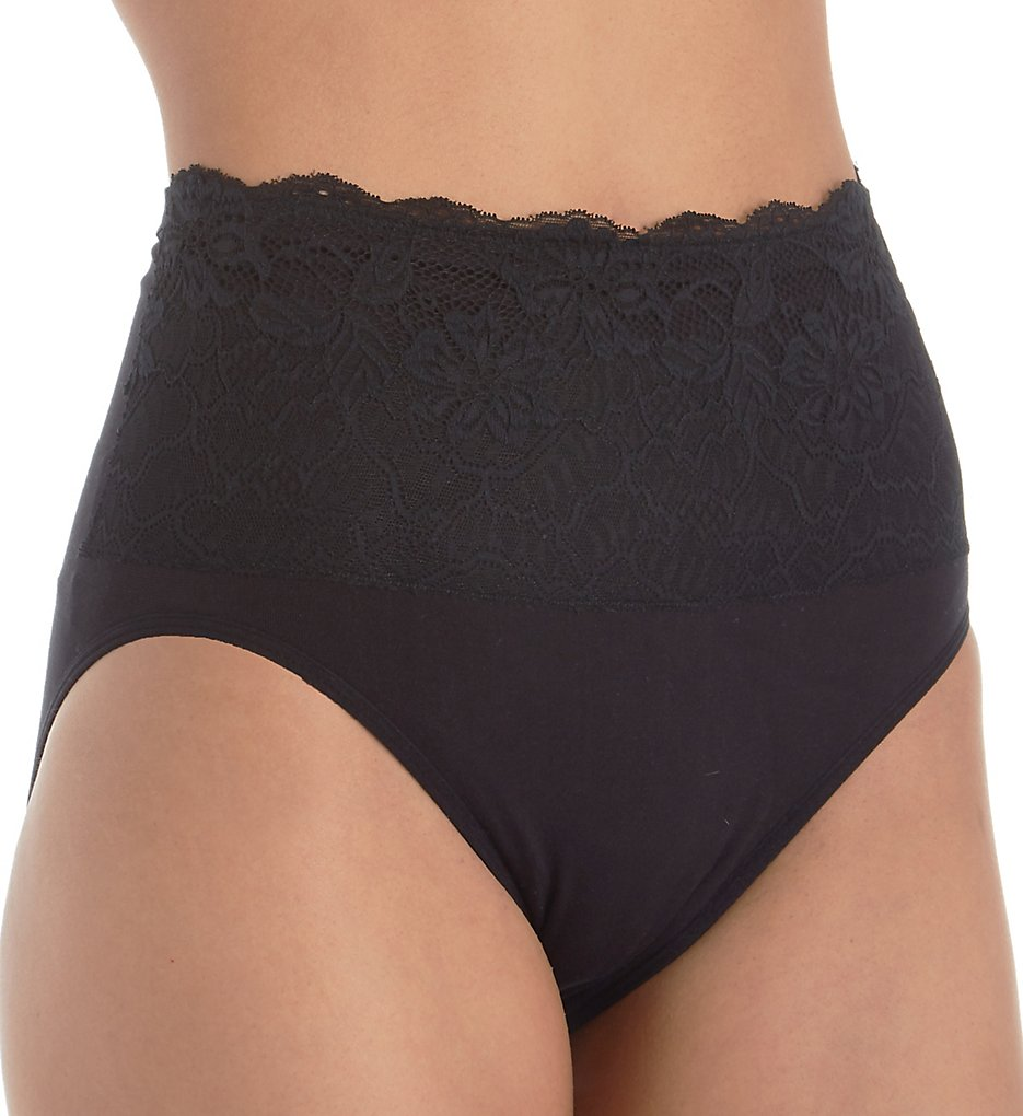Rhonda Shear - Rhonda Shear 4225 Cotton Blend Seamless Brief with Lace Overlay (Black 1X)