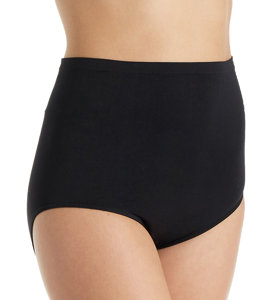 Rhonda Shear - Rhonda Shear 4230 Ahh High Waisted Seamless Brief Panty (Black 1X)