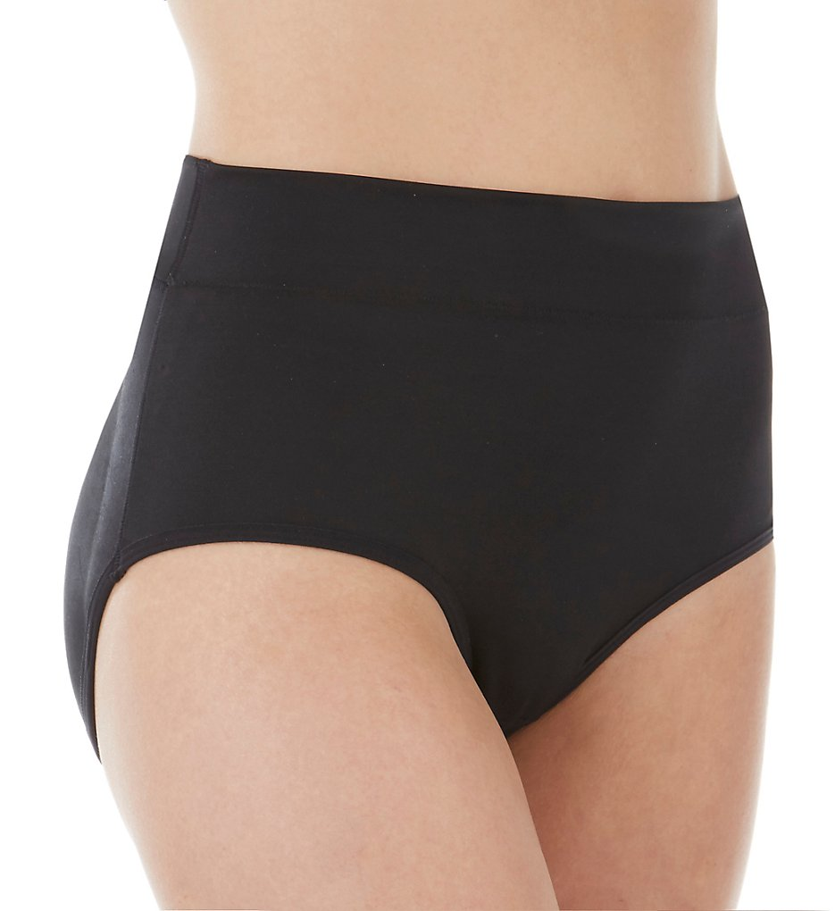 Rhonda Shear - Rhonda Shear 4631 High Waist Padded Brief Panty (Black S)